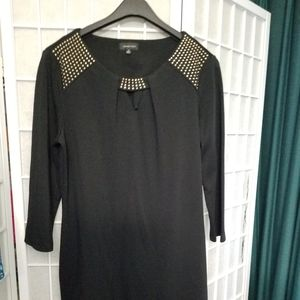 Black knit dress with gold faceted studs, sz 12